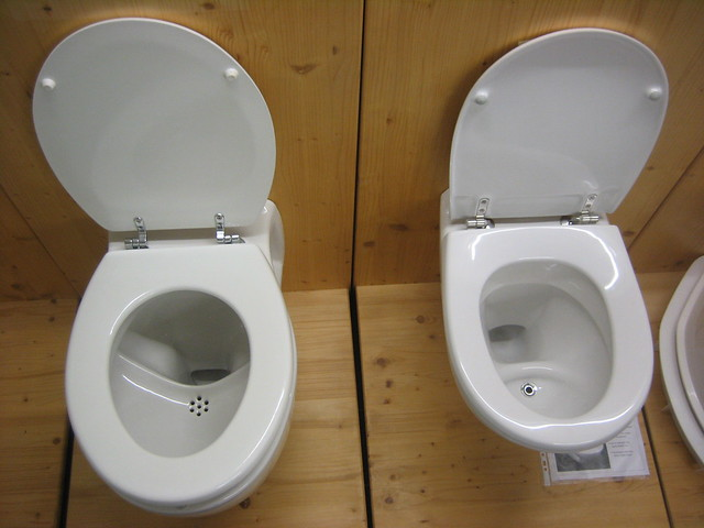 Urine-diversion flush toilets