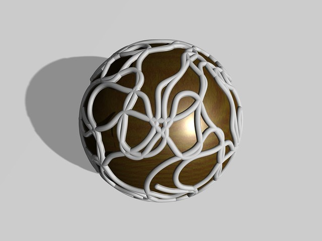 Compound of five quasi hamiltonian circuits on a truncated icosidodecahedron