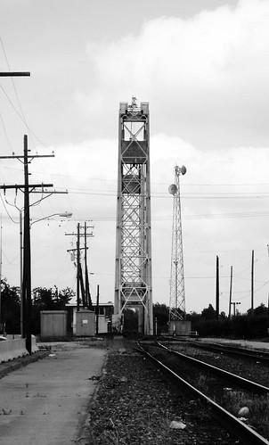 riverfront park beaumont jefferson county texas structural steel railroad bridge railway train locomotive lift through truss neches river black white blackandwhite blackwhite bw b w movable moving draw drawbridge pontist united states north america