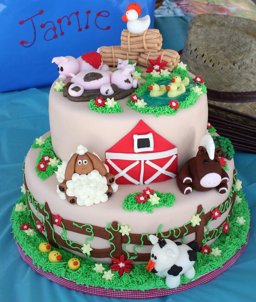 Farm Animal Birthday Cake #(2)