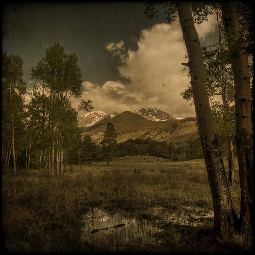 sky snow storm mountains reflection water clouds colorado grove aspens aged rmnp bog marshy textured rockymountainnationalpark snowcap layered fauxvintage fauxttv famoussquarecaptures