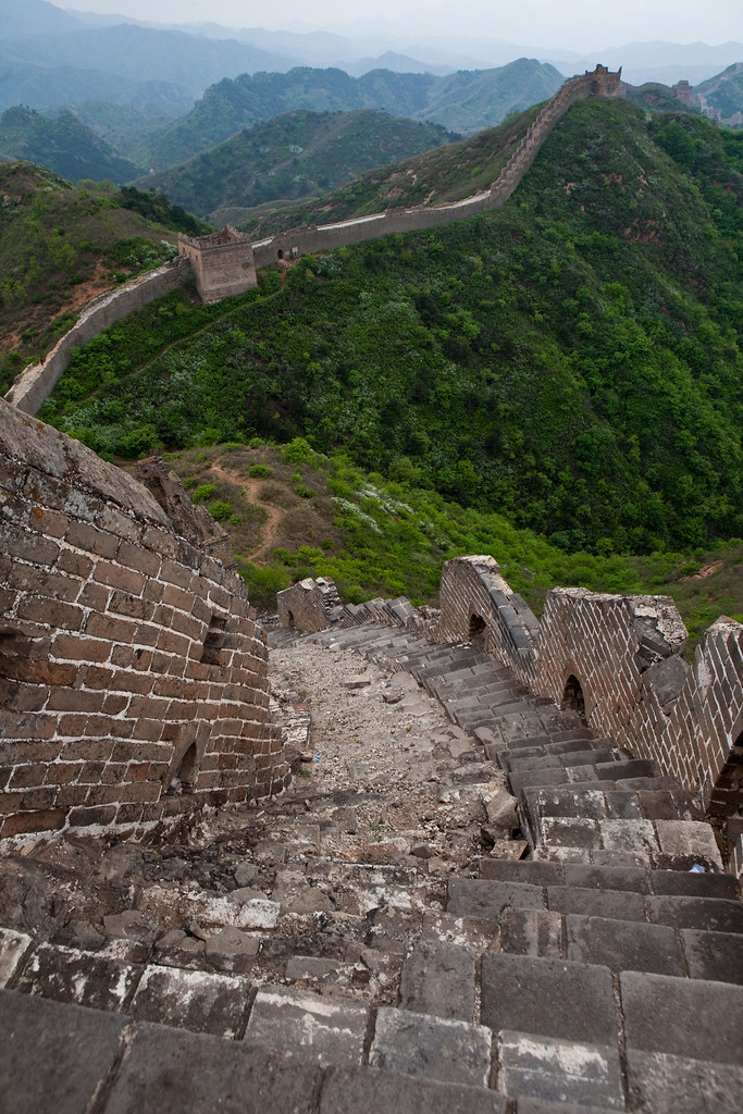 Looking Back at a Steep Climb on the Great Wall