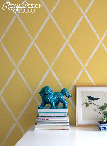 Bamboo Trellis Wall Stencil by Royal Design Studio