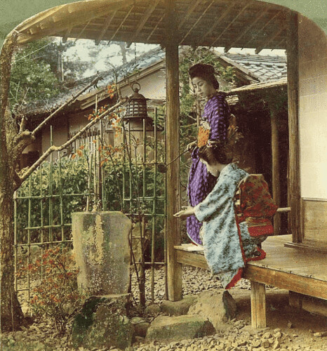 (animated stereo) Geisha on the Veranda