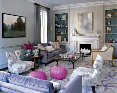 Luxurious neutral living room + pink accents, from Elle Decor ...