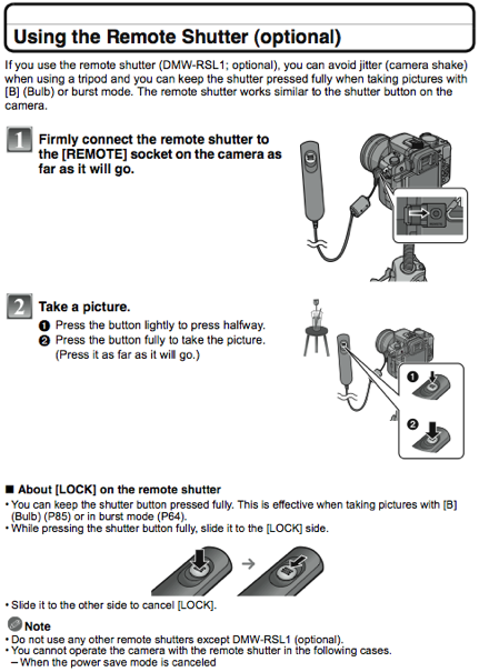 Using the Panasonic DMW-RSL1 remote shutter / cable release, as documented on page 131 of the G1 manual