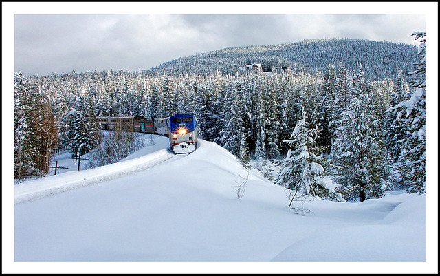 Amtrak in the snow - Hideaway Park, Colorado, 2003