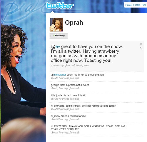Oprah's first Tweets on Twitter