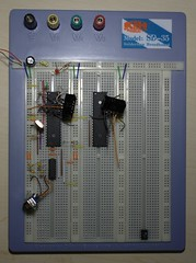 personal computer hardware(0.0), gadget(0.0), display device(0.0), breadboard(1.0), circuit component(1.0), microcontroller(1.0), electrical wiring(1.0), electronics(1.0),