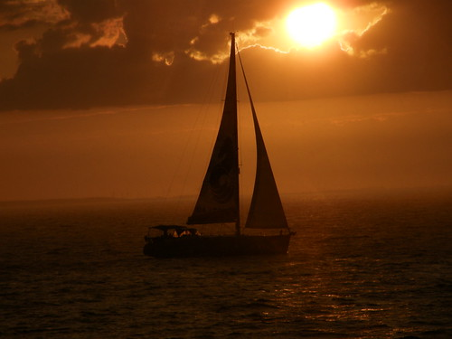 Sailing at sun set.