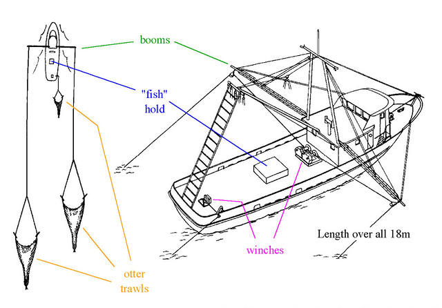 double-rigged shrimp trawler  diagram