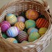 basketful of mama-made felted easter eggs