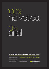 100% Helvetica 0% Arial Typographic Poster