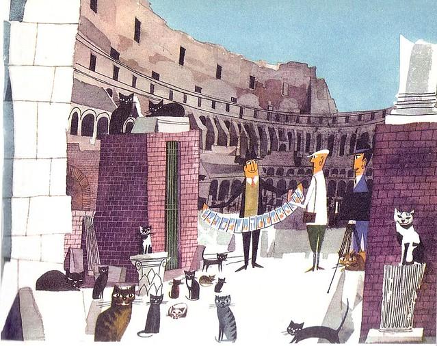 Images de Rome : Illustration tchèque sur le Colisée de Rome des années 1950 entre touriste, vendeurs et chats.