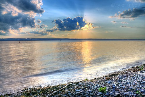blue sunset sky sun lake water yellow clouds rocks hdr senecalake photomatix canonrebelxs canonefs1855mmf3556is canoneos1000d tylermccall