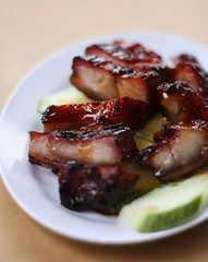meal, breakfast, pork, vegetable, char siu, meat, food, dish, cuisine, teriyaki,