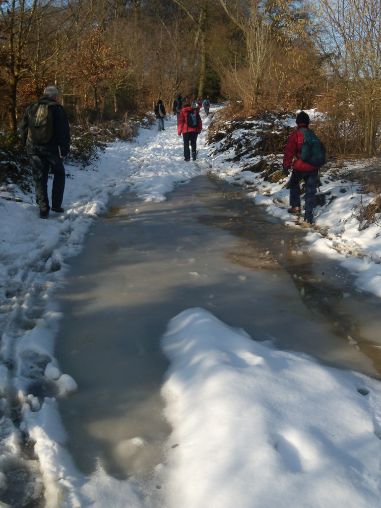 Heading Back These icy 'lakes' littered the bridleway on top. Saunderton via West Wycombe (short Walk)