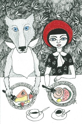 little red riding hood and wolf eating cake