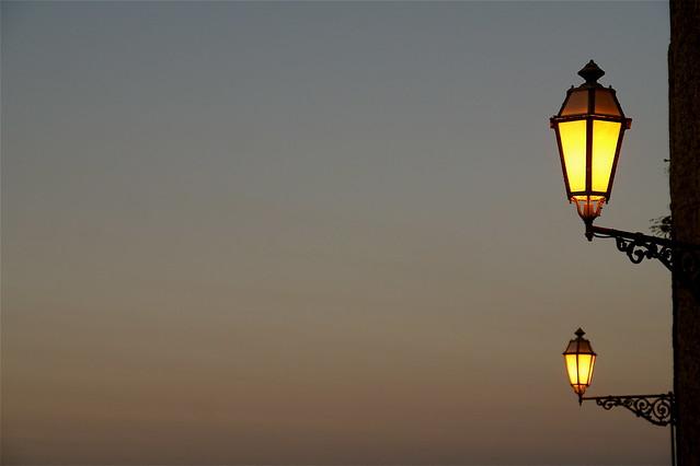 lamplit dusk