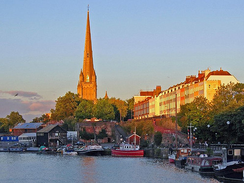 Bristol Harbour and St Mary Redcliffe Church