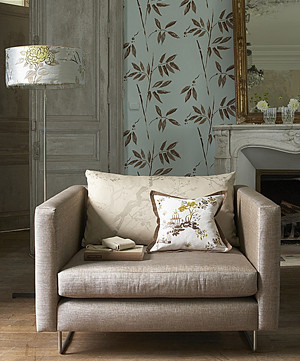 Modern fabric: Mid-century modern chair + luxurious netural velvet + tone-on-tone cherry blossom jacquard