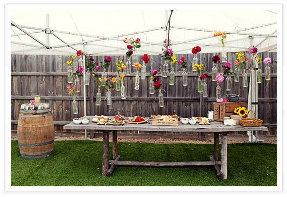 Floating Flower Display in Glass Bottles-100 Layer Cake-Amy & Mark-Style Notes