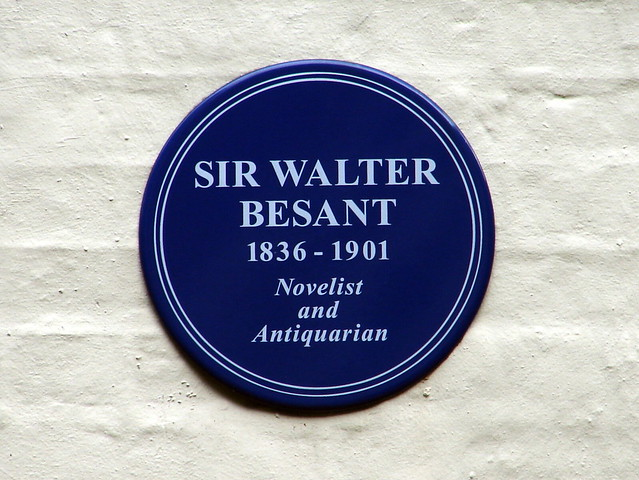 Walter Besant blue plaque - Sir Walter  Besant  1836 - 1901  Novelist and Antiquarian
