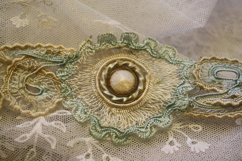 French Silk 18thc Button