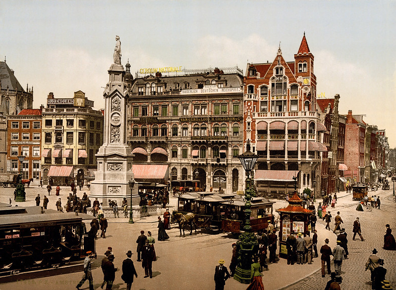 Dam square, Amsterdam, North Holland, the Netherlands, ca. 1895