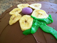 Banana Chip Flower on Banana Marble Cake