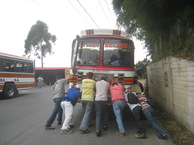 How many guys does it take to push start a bus?