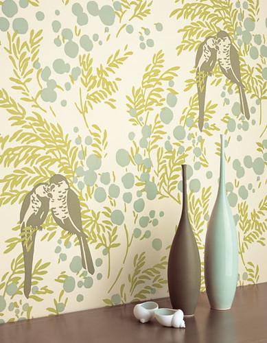 Modern wallpaper: Birds + leaves + berries: Blue-green ...