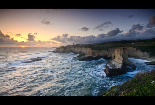 ocean california ca sunset sky santacruz color water clouds outdoors nikon rocks pacific highway1 coastal bluffs nikkor filters davenport lightroom 1735mm d700