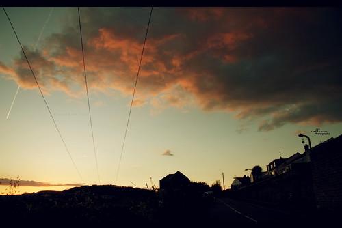 sunset house silhouette clouds airplane aeroplane redsky pontypridd callissacaffull treforst