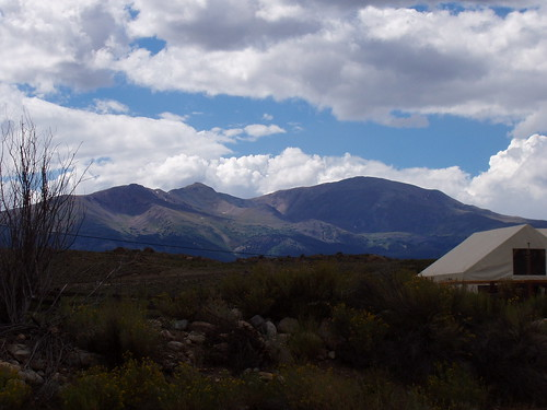 Mount Elbert from near the junction of CO-82 and US-24. The summit is the flat area slightly to the right of center.