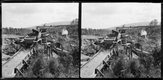 Water race at a gold mine, Round Hill, Southland, February 1900
