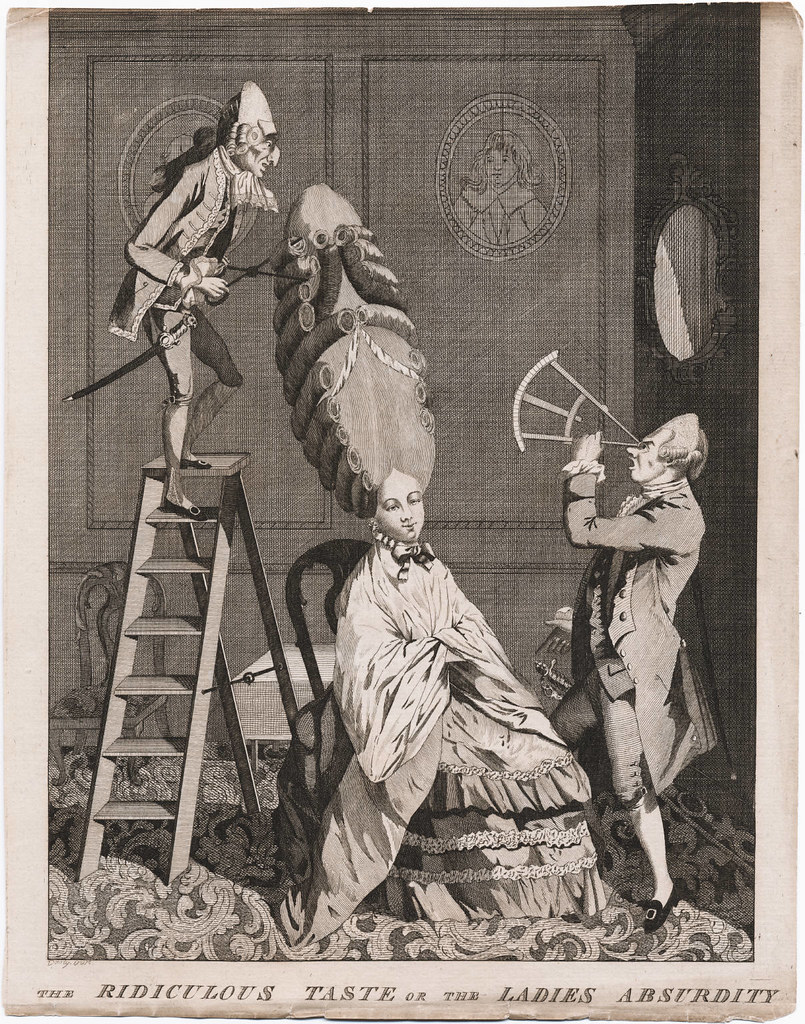 satirical hairstyle print 1700s