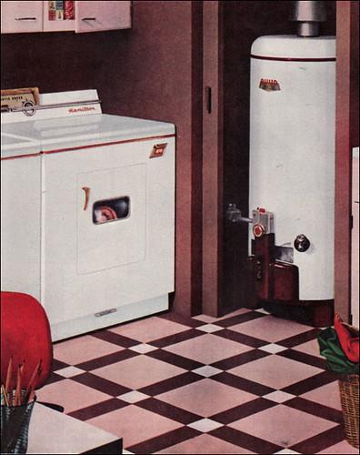 1957 laundry with cool linoleum floor flickr photo for Cool linoleum flooring