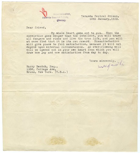 Letter from Mahatma Gandhi (in prison) to Harry Deutch