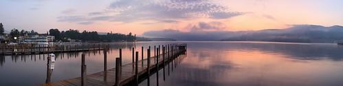 panorama lake mountains sunrise dawn pier boat george dock panoramic lakegeorge lakegeorgeny disance