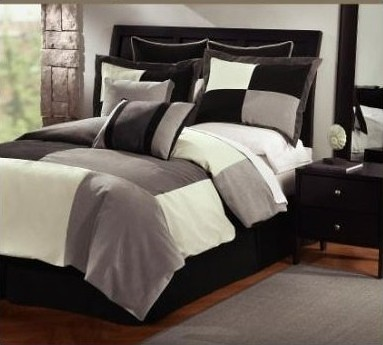 Victorian Collections White Grey Black King Comforter Set