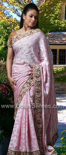 Baby Pink Pure Georgette Saree with Blouse