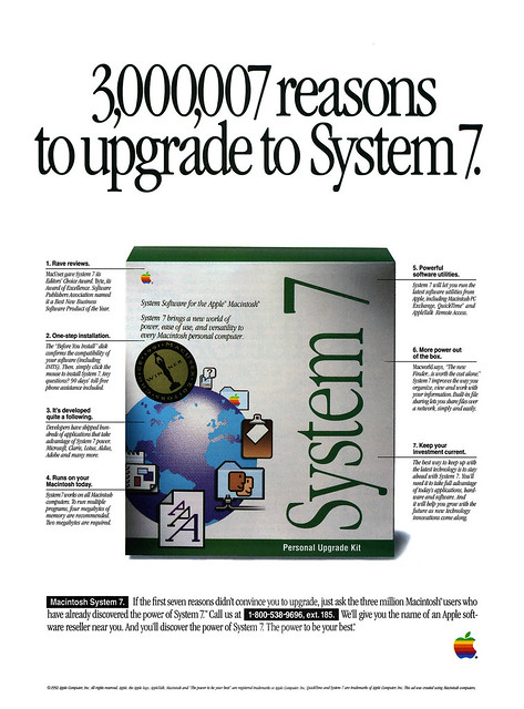 Apple System 7 advertisement from MacUser 9/92