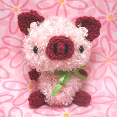 Amigurumi Pink Rose Piggy Explore Amigurumi Kingdoms ...
