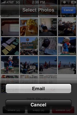Photos>Select Photos>Email
