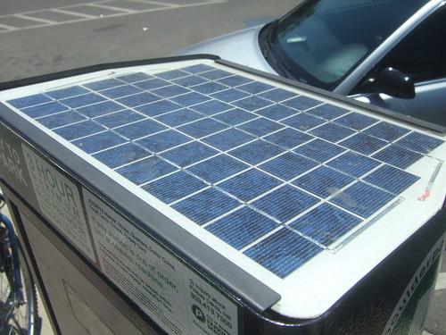 Solar panel parking meter