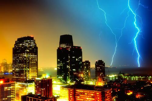 nyc newyorkcity newyork storm brooklyn night geotagged newjersey jerseycity view nightscape manhattan explore batterypark eastriver hudsonriver frontpage thunder hdr goldmansachs mudpig stevekelley
