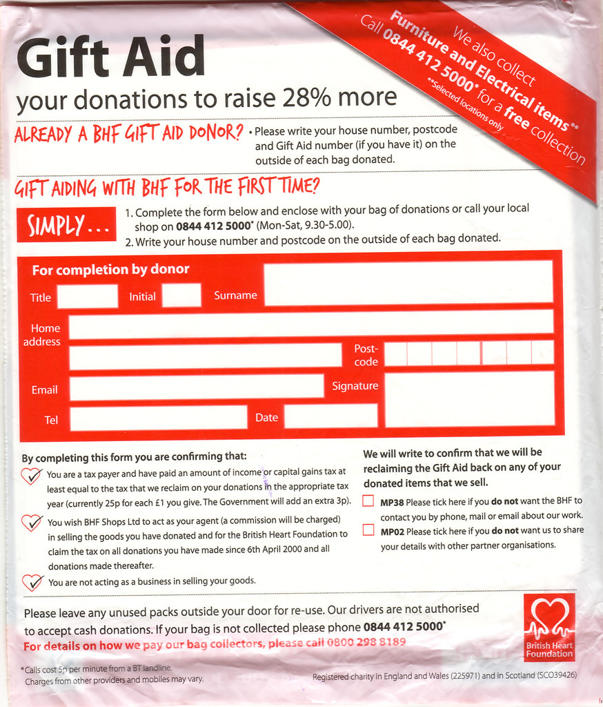 Flickr photos tagged giftaid picssr british heart foundation gift aid form on recycling bag negle Image collections