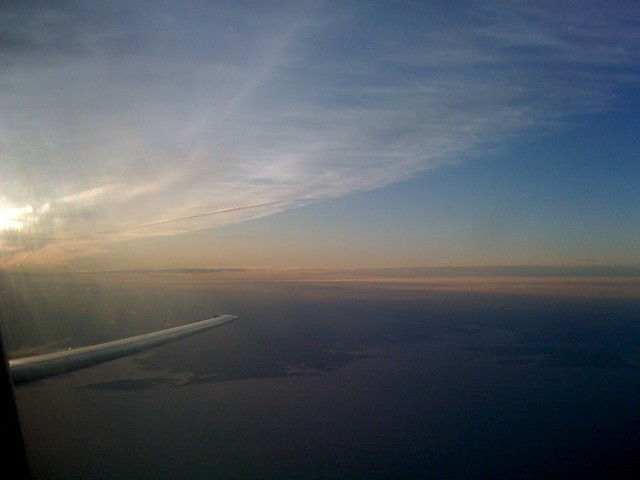 Looking back at the Chesapeake Bay and sunset from 24k ft.