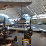 "Steven F. Udvar-Hazy Center: south hangar panorama, including Vought OS2U-3 Kingfisher seaplane, B-29 Superfortress ""Enola Gay"", among others"